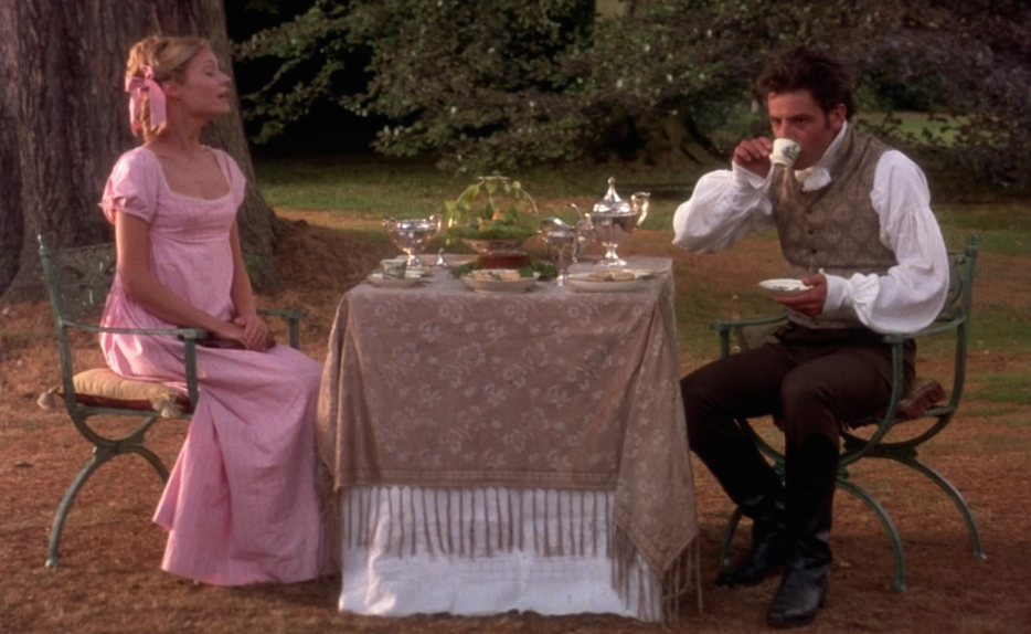 Emma and Knightley have tea, a scene scripted by Jane Austen.
