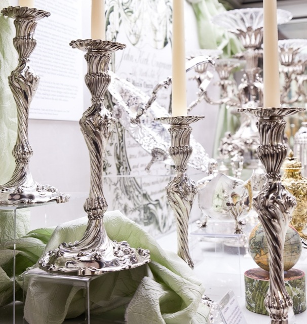 Cast Silver Rococo Candlesticks by Richard Gosling, circa 1769; image courtesy The London Silver Vaults.