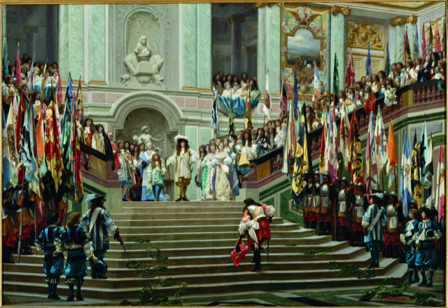 "The chapter of ""Staircases: the Architecture of Ascent"" covering 1600-1800 is titled ""A Theatre of Power"" and illustrated with this sumptuous image of Jean-Léon Gérôme's ""Reception of the Grand Condé at Versailles"" [1878], courtesy of The Vendome Press and Musée d'Orsay/Hervé Lewandowski."