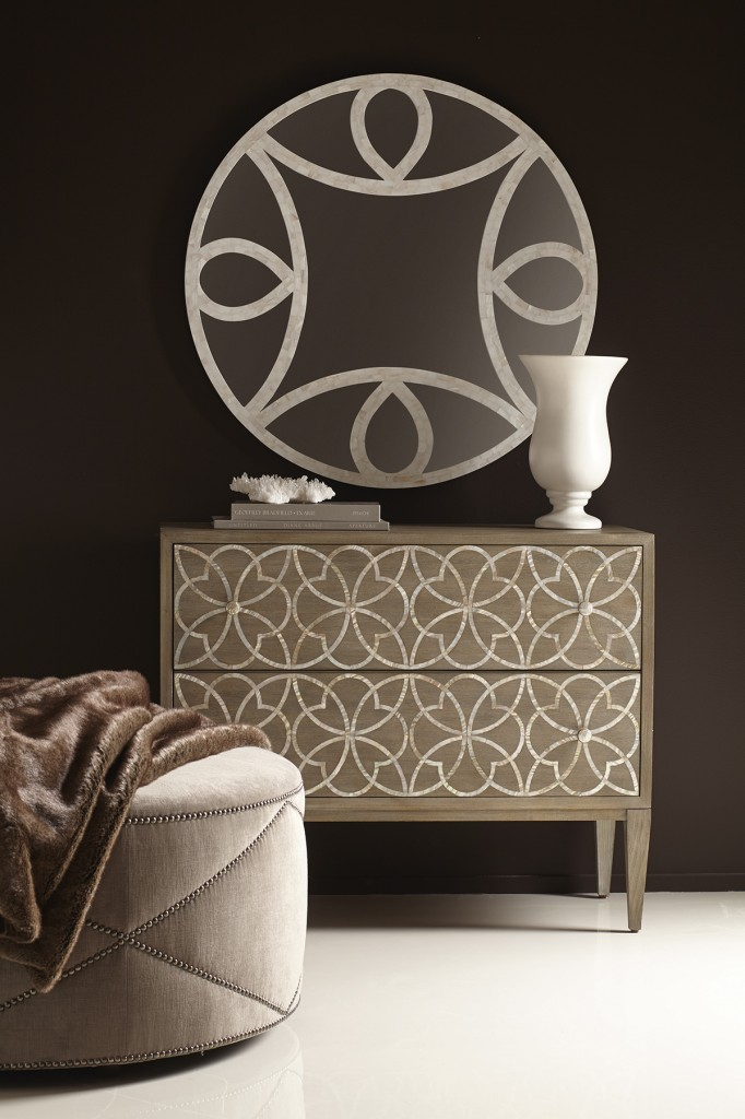 Bernhardt's Jewell drawer chest and Faye mirror.