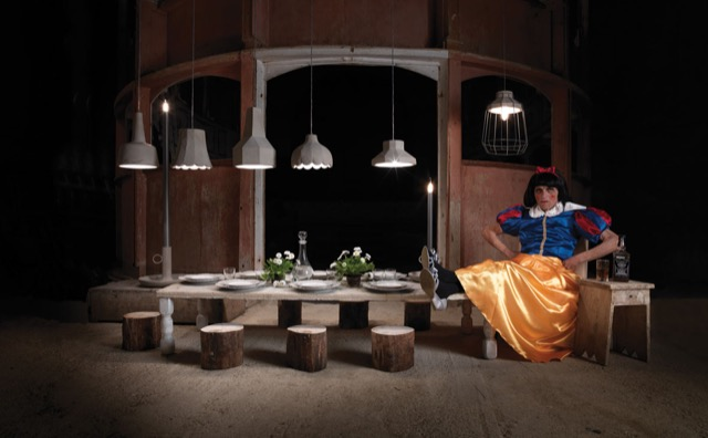 Settenani pendants by Karman Lighting illuminate a contrary Snow White.