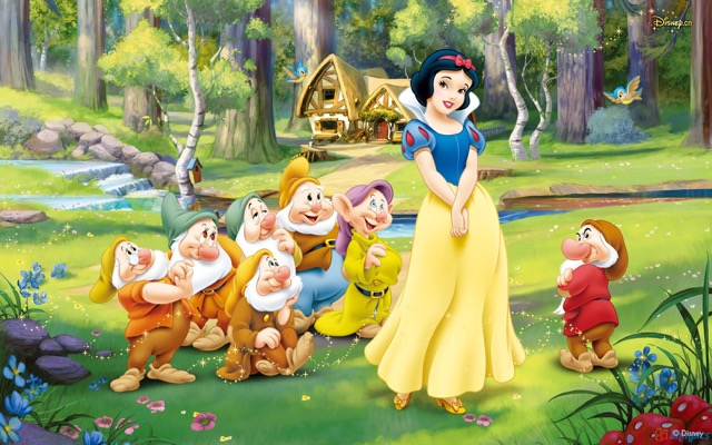 Snow White with the Seven Dwarfs in the forest-glen