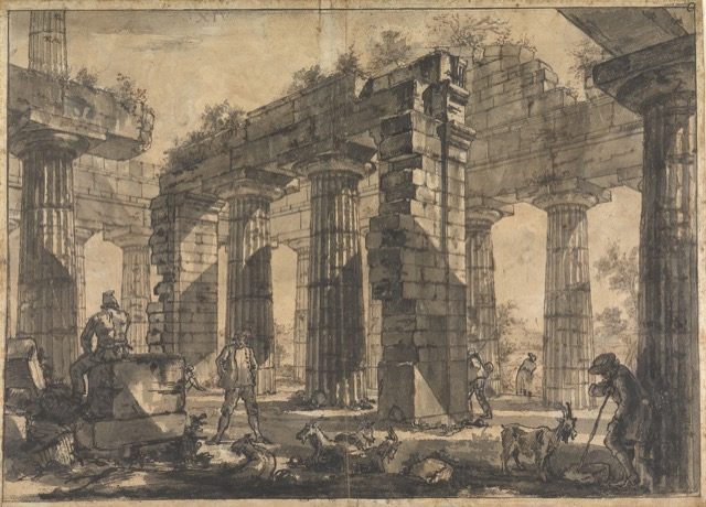 Study for plate XIV of the Différents vues de Pesto ruins in Italy
