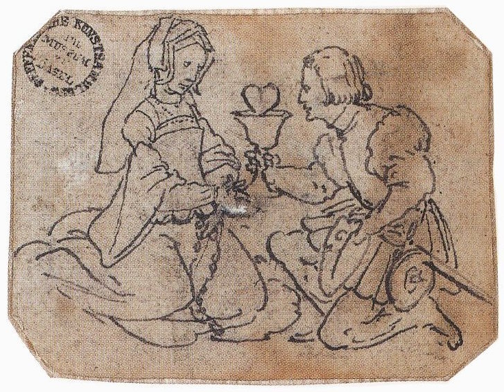 A Courtly Couple, circa 1532-36, a drawing by Hans Holbein the Younger.