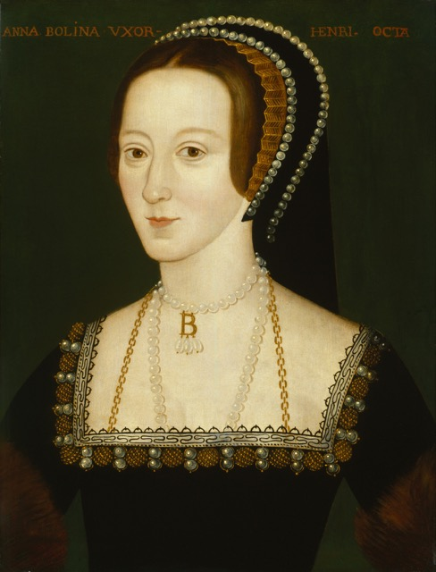 Anne Boleyn, Henry VIII's second wife, by an unknown painter, circa 1570.