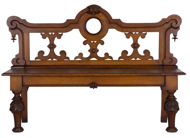 Lorfords Antiques sells unique antiques like this gothic bench