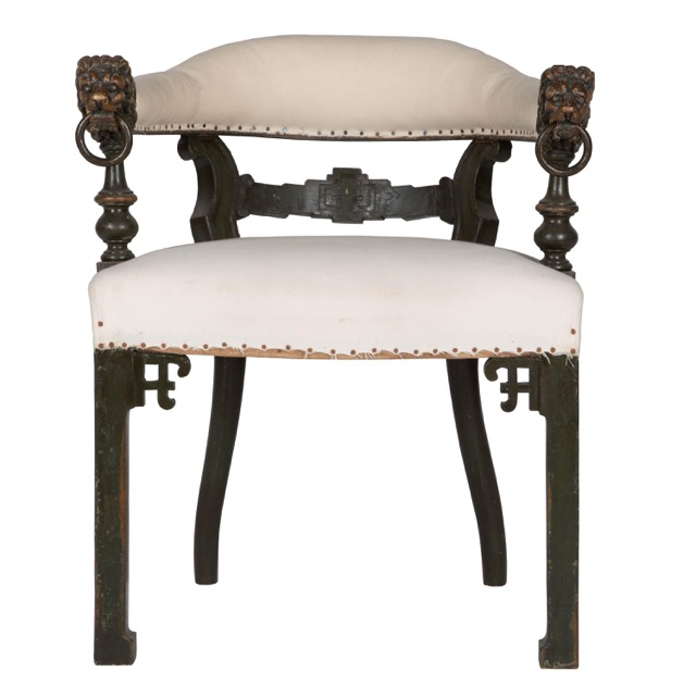 Lorfords Antiques sells unique pieces like this oak chair, a surprising Chinoiserie piece.