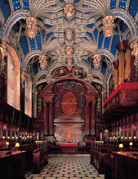 The ornate Chapel Royal at Hampton Court Palace