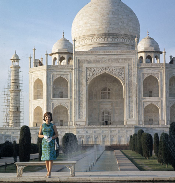 Jacqueline Kennedy, when he was First Lady, at the Taj Mahal