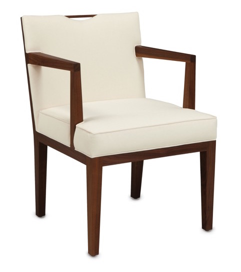 Currey and Company's new Monroe armchair in the Dunbar Collection