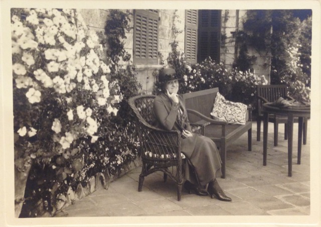 In Edith Wharton's papers at Beinecke, a photo of her at Sainte-Claire