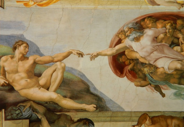 Michelangelo receives the acknowledgement of God's Articulate Finger
