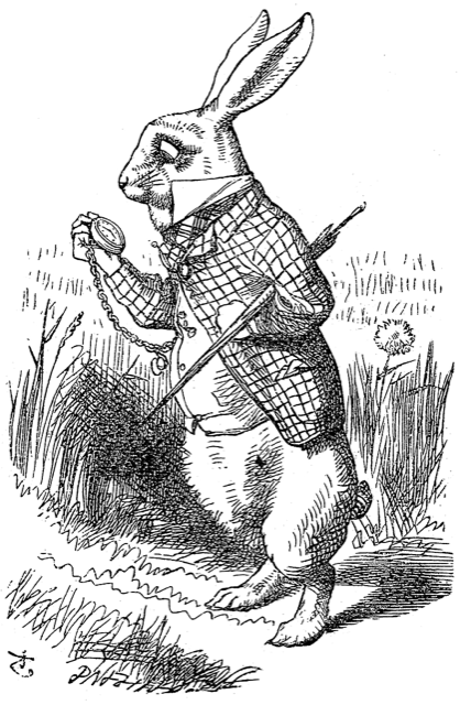 A sketch of the White Rabbit in Alice's Adventures in Wonderland.