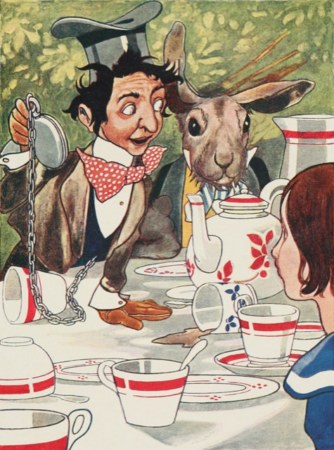 A colorful rendition of a Mad Hatter tea party in Alice in Wonderland