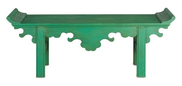 The Jade Bench in Jolly Green from Currey and Company