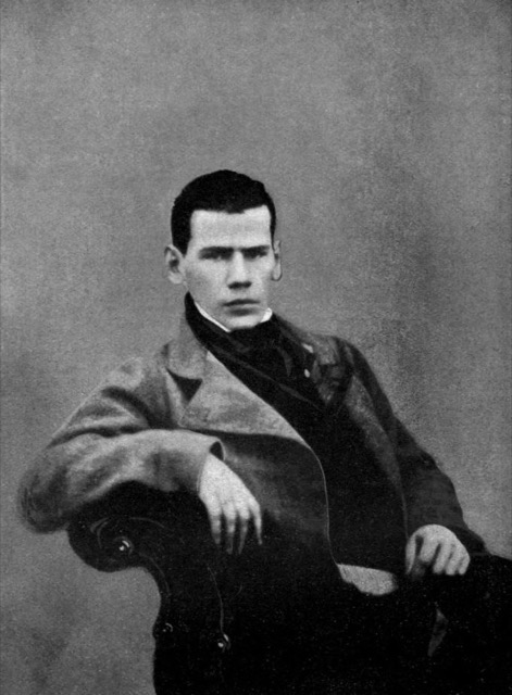Leo Tolstoy at the age of 20, photographed by Pavel Biryukov in 1848.