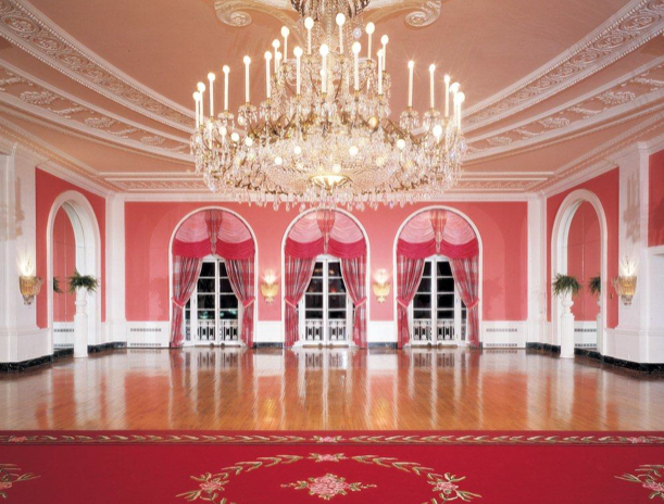 The Cameo Ballroom at The Greenbrier, luxuriant Dorothy Draper style.