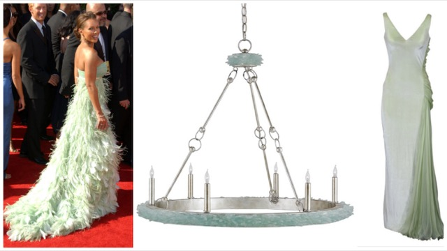 Currey & Company's Tidewater chandelier paired with ethereal couture.