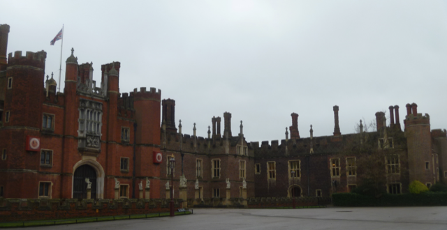 Hampton Court Palace on a gray day