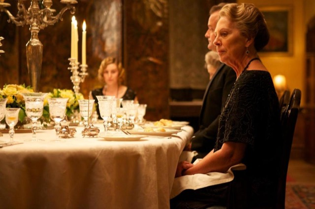 Lady Edith at the dining room table