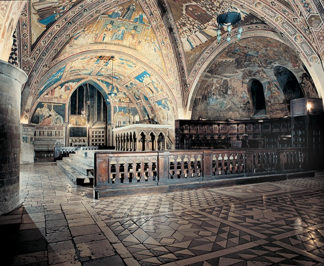 The lower chapel of the Basilica of St. Francis in Assisi