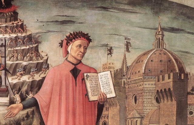 Dante in a detail of a Domenico di Michelino painting