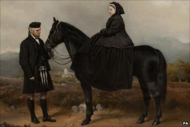 An oil painting of John Brown and Queen Victoria
