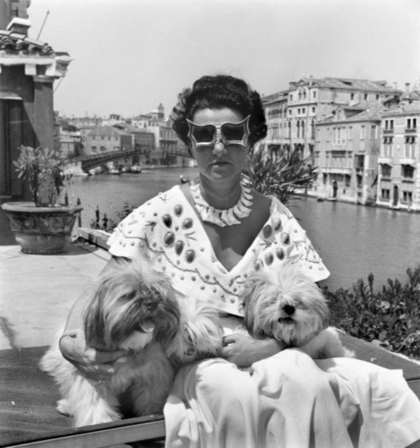 Peggy Guggenheim with Lhasa Apsos