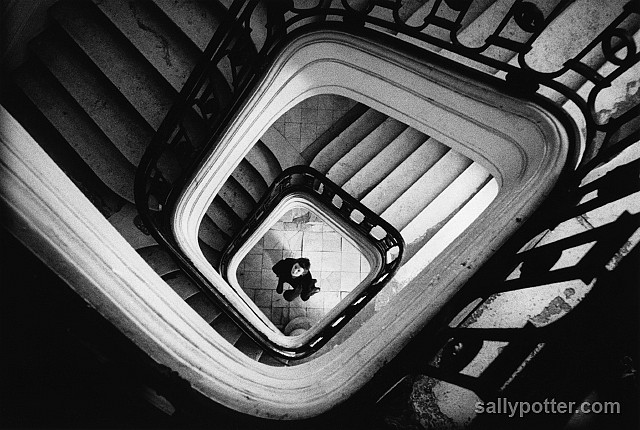 Sally Potter in an art deco stairwell