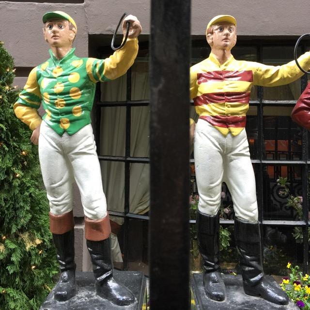 Jockeys ornament the exterior of the 21 Club