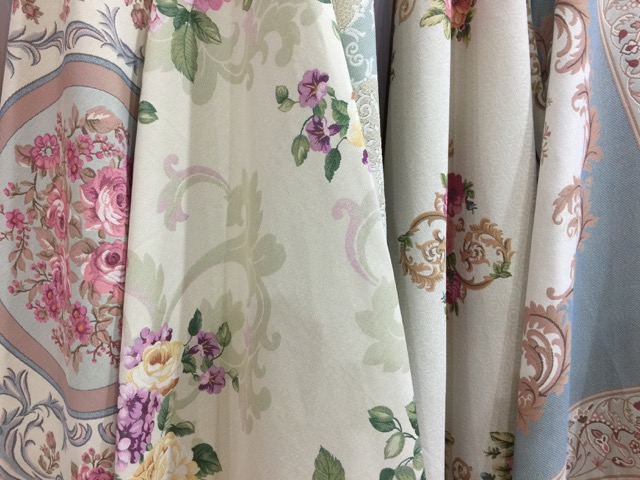 Pretty floral fabric displayed at Heimtextil