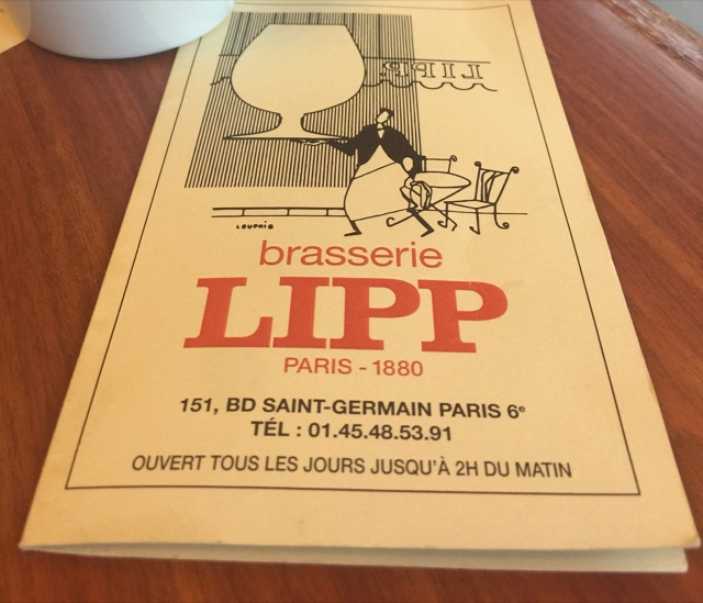 The menu at Brasserie Lipp in Paris