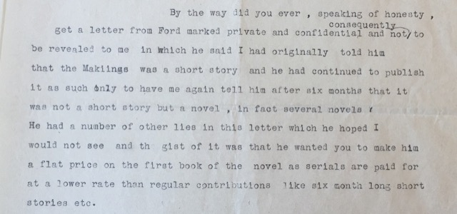 Hemingway to Stein on Ford