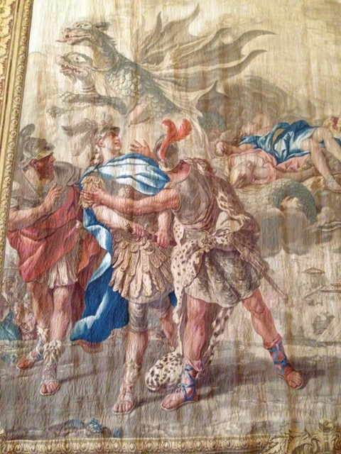 Jason struggles with soldiers in the detail of the tapestry