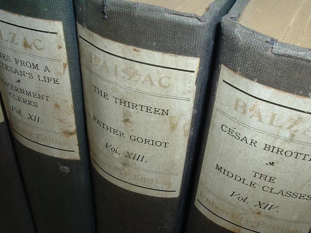 The 1901 editions of the novels of Honoré de Balzac, including Le Père Goriot.
