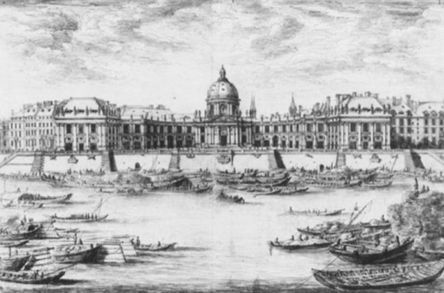 A detail of a drawing of the Collège des Quartre Nations viewed from across the Seine created by Israel Silvestre in 1670