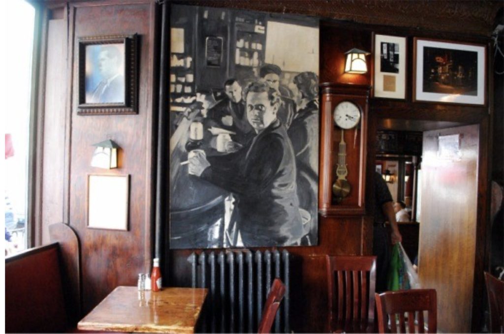 A painting of Dylan Thomas at the White Horse Tavern in New York City. Image © Saxon Henry.