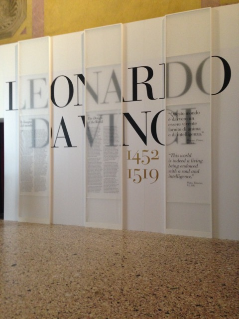 "The entrance to the exhibition ""Leonardo 1452-1519"" at the Palazzo Reale in Milan. Image © Saxon Henry."