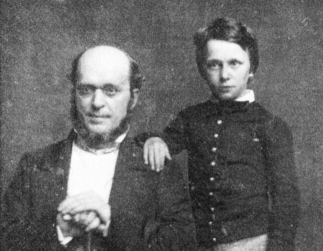 A daguerreotype by Mathew Brady of Henry James at age 11 with his father Henry James Sr. in 1854.