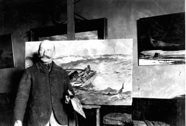 "Winslow Homer working on ""The Gulf Stream."""