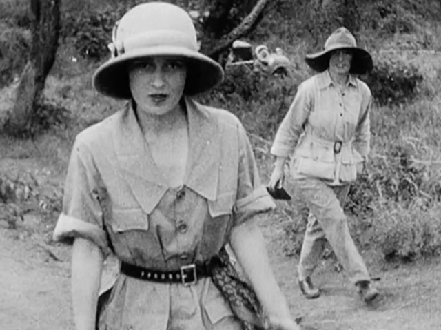 Lady Furness on Safari with Prince of Wales, a smiling Karen Blixen walking behind her.