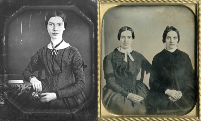 The 1859 daguerreotype of Emily Dickinson and Kate Turner beside the only image of the poet that had existed before this image was discovered. Image courtesy Amherst College Library.