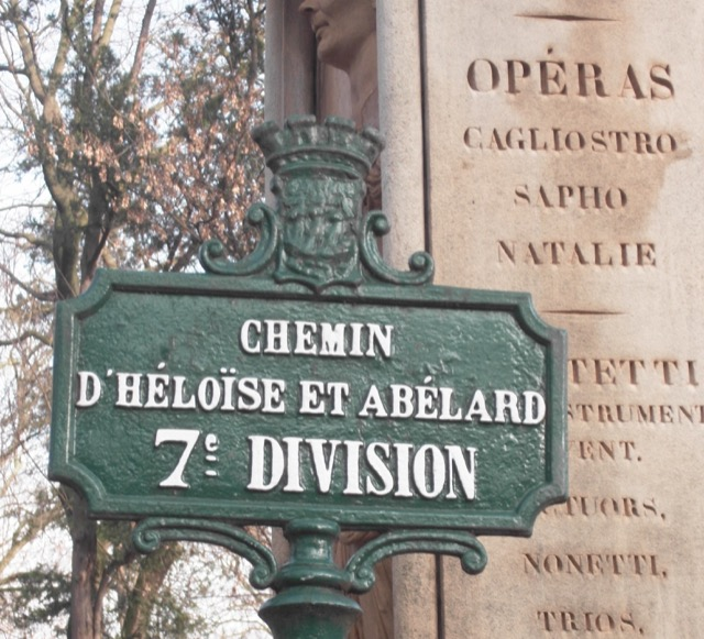 The sign indicating the Chemin d'Héloïse et Abélard, the path to their tomb at the Père Lachaise Cemetery. Image © Saxon Henry.