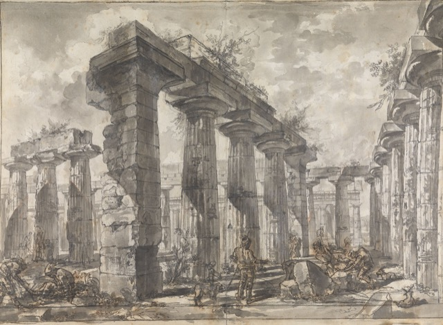 Study for plate V of the Différents vues de Pesto: A view of the Interior of the Basilica looking north, ca. 1777-78, rendered in black chalk and wash with pen and brown ink and red chalk on paper.