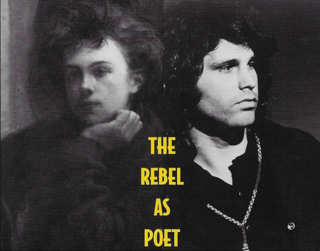 Detail of the cover of The Rebel as Poet by Wallace Fowlie with images of Rimbaud and Jim Morrison.