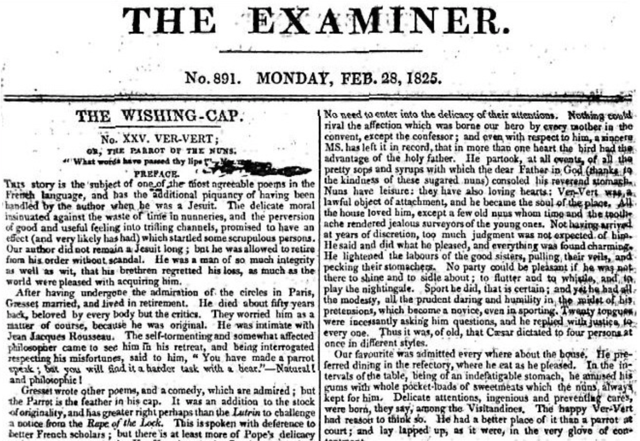 "Leigh Hunt was editor of ""The Examiner."""