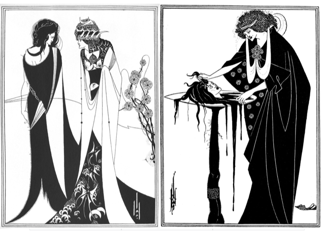 Beardsley Drawings for Salome. Images Public Domain.