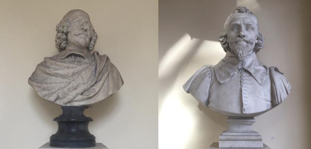 Busts of Cardinal Jules Mazarin by Louis Lerambert, left, and of Gabriel Naudé by Raymond Gayrard, right. Image © Saxon Henry.