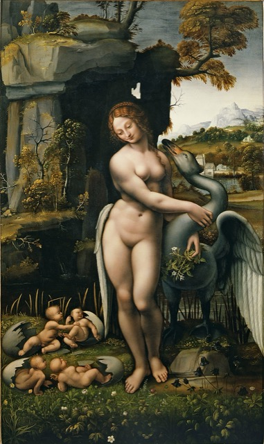 """Leda and the Swan"" by Francesco Melzi, which is said to be closest to Leonardo's original that is now considered lost. Image courtesy WikiMedia and Uffizi Gallery."