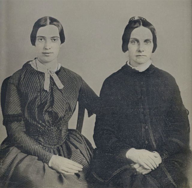 Closeup of the 1859 daguerreotype of Emily Dickinson and Kate Turner. Image courtesy Amherst College Library.